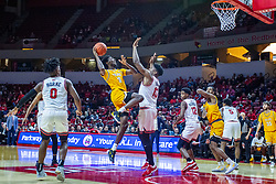NORMAL, IL - February 15:Javon Freeman-Liberty shoots over Rey Idowu  during a college basketball game between the ISU Redbirds and the Valparaiso Crusaders on February 15 2020 at Redbird Arena in Normal, IL. (Photo by Alan Look)