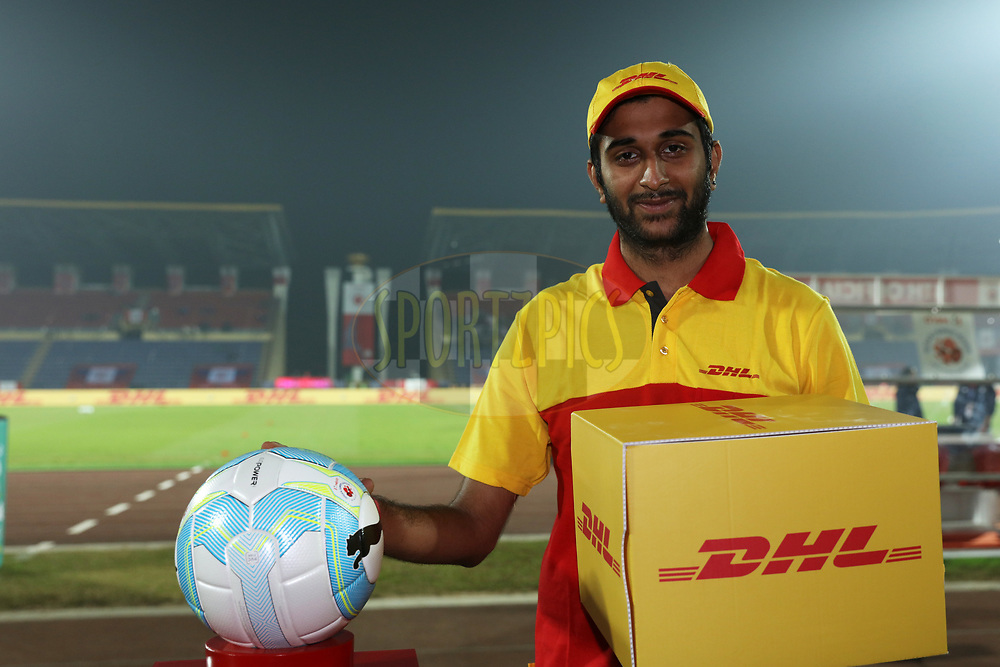 DHL delivery man deliver the match ball during match 45 of the Hero Indian Super League between NorthEast United FC and ATK  held at the Indira Gandhi Athletic Stadium, Guwahati India on the 12th January 2018<br /> <br /> Photo by: Saikat Das  / ISL / SPORTZPICS
