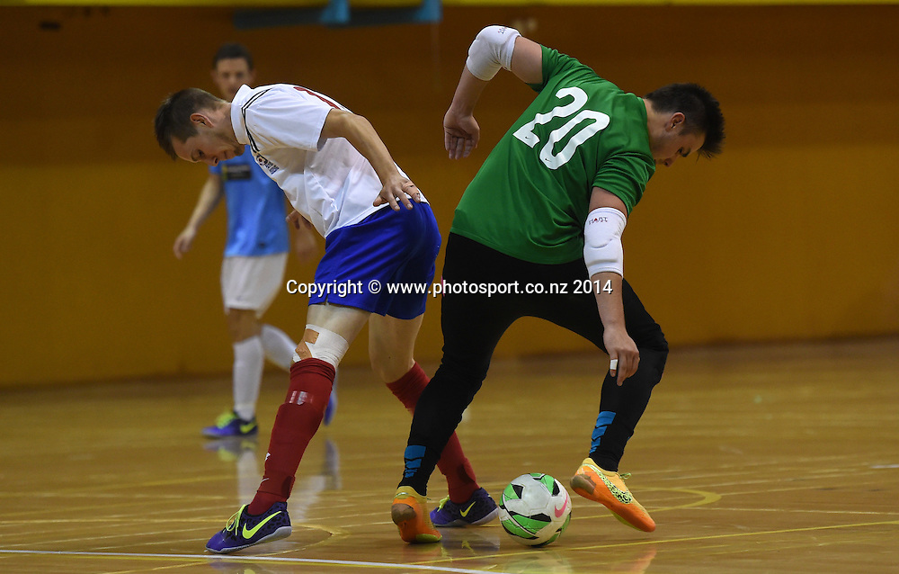 Goalie Mitch Webber for Central Futsal Hawkes Bay v AFF Futsal. National Futsal League, Series 3. ASB Stadium, Auckland, New Zealand. Friday 5 December 2014. Photo: Andrew Cornaga/photosport.co.nz