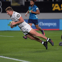 Sharks flyhalf Robert du Preez scores during the Super Rugby match between the Blues and Sharks at Eden Park in Auckland, New Zealand on Saturday, 31 March 2018. Photo: Dave Lintott / lintottphoto.co.nz