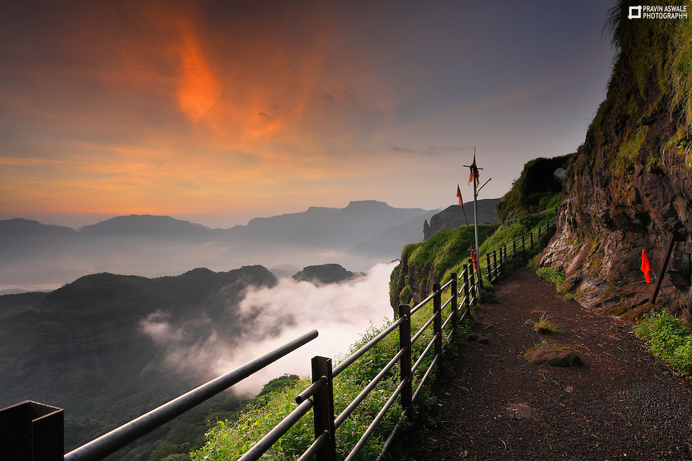 Early Morning Colours of monsoon, a breathtaking View from Mount Ratangad, Sahyadri, India.