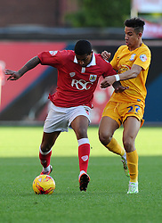 Bristol City's Mark Little battles for the ball with Preston North End's Callum Robinson  - Photo mandatory by-line: Joe Meredith/JMP - Mobile: 07966 386802 - 22/11/2014 - Sport - Football - Bristol - Ashton Gate - Bristol City v Preston North End - Sky Bet League One