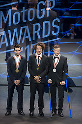 November 12, 2017 - Valencia, Valencia, Spain - Podium of Moto2  Franco Morbidelli, Miguel Oliveira, Thomas Luthi during the FIM Awards Ceremony after the Gran Premio Motul de la Comunitat Valenciana, in Palacio de Congresos of Valencia, Spain. Sunday 12th of november 2017. (Credit Image: © Jose Breton/NurPhoto via ZUMA Press)