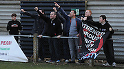 Palace fans singing proudly after the final whistle during the Women's FA Cup match between Charlton Athletic WFC and Crystal Palace LFC at Sporting Club Thamesmead, Thamesmead, United Kingdom on 8 March 2015. Photo by Michael Hulf.