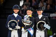 Prijsuitreiking 1. Isabell Werth - Weihegold, Laura Graves - Veradus, 3. Jessica von Bredow Werndl - Unee BB<br /> FEI Longines FEI World Cup Paris 2018<br /> © DigiShots