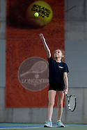 Maja Chwalinska competes at final during the Longines Future Tennis Aces 2014 at Tuan Tennis Club in Jozefoslaw near Warsaw on April 12, 2014.<br /> <br /> Poland, Warsaw, April 12, 2014<br /> <br /> Picture also available in RAW (NEF) or TIFF format on special request.<br /> <br /> For editorial use only. Any commercial or promotional use requires permission.<br /> <br /> Mandatory credit:<br /> Photo by © Adam Nurkiewicz / Mediasport