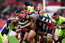 The Bristol Rugby pack led by Anthony Perenise of Bristol Rugby drive forward  - Mandatory by-line: Joe Meredith/JMP - 30/10/2016 - RUGBY - Ashton Gate - Bristol, England - Bristol Rugby v Sale Sharks - Aviva Premiership
