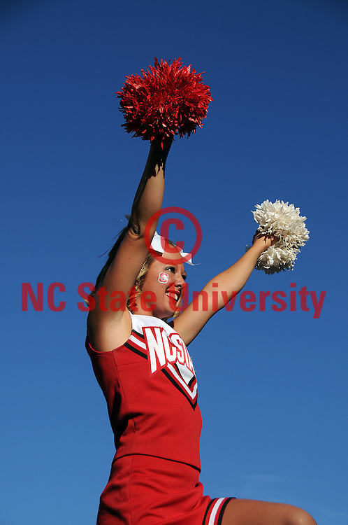 NC State cheerleader pulls for the Pack before the WCU football game. PHOTO BY ROGER WINSTEAD