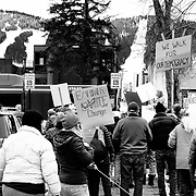 Citizens of Jackson Wyoming march for women's rights.