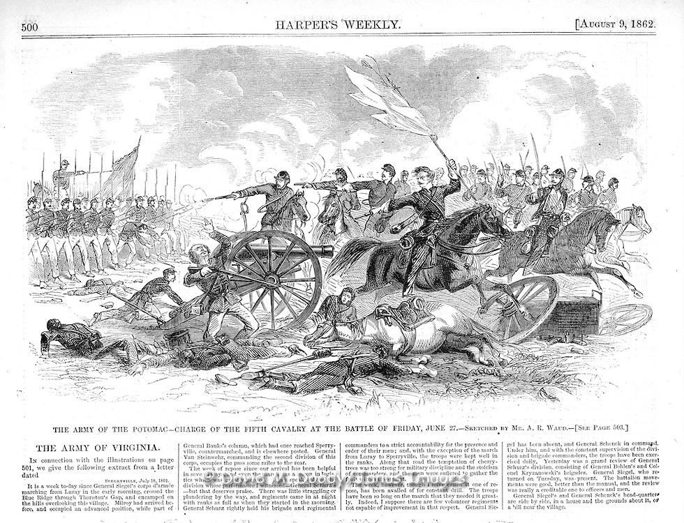 Civil War:  Army of the Potomac at Thornton Gap & Sperryville, (Blue Ridge-Shenandoah region) Virginia.Harper's Weekly August 9,  1862  Page 500.t