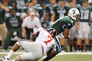 Tulane wide receiver Ryan Grant (3) is tackled by Ole Miss defensive end Wayne Dorsey (7)  at the Louisiana Superdome in New Orleans, La. on Saturday, September 11, 2010. The play was called back because of penalty. Ole Miss won 27-13.