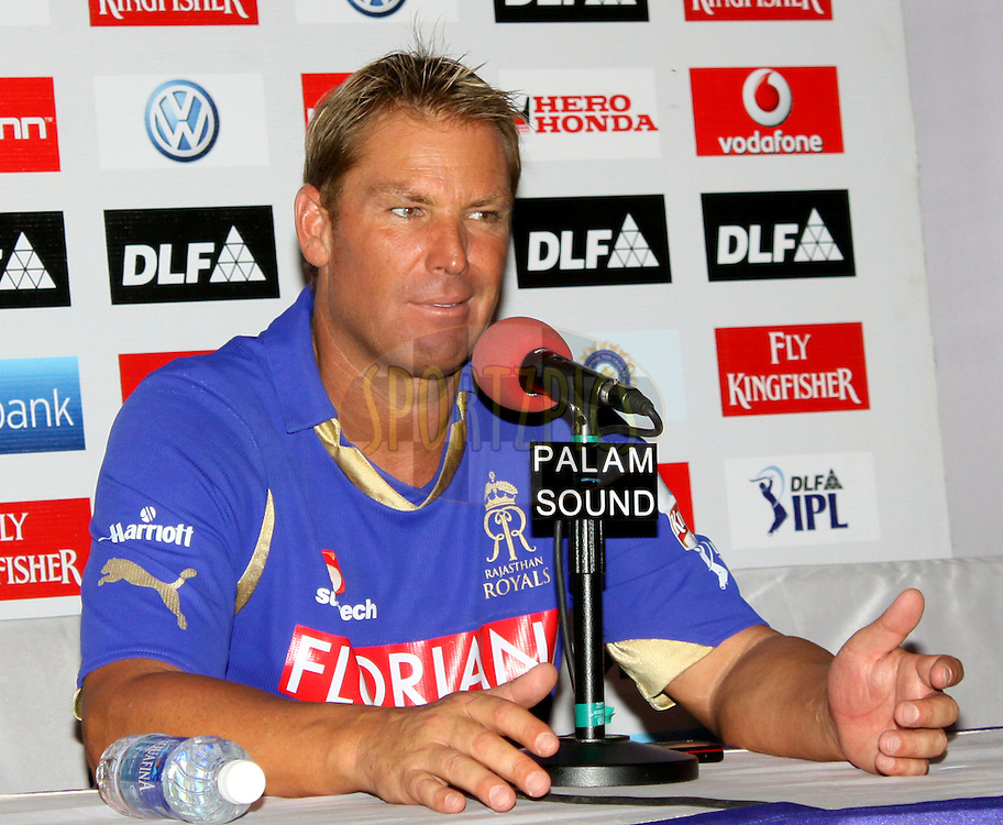 Shane Warne Captian of Rajasthan Royals during the Press Confrence of the  match 34 of the the Indian Premier League ( IPL ) Season 4 between the Rajasthan Royals and the Mumbai Indians held at the Sawai Mansingh Stadium, Jaipur, Rajatshan, India on the 29th April 2011..Photo by Sandeep Shetty/BCCI/SPORTZPICS.