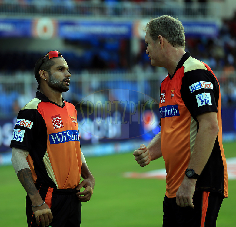 Shikhar Dhawan captain of the Sunrisers Hyderabad and Coach Com Moody Before the  match 9 of the Pepsi Indian Premier League 2014 between the The Kings XI Punjab and the Sunrisers Hyderabad held at the Sharjah Cricket Stadium, Sharjah, United Arab Emirates on the 22nd April 2014<br /> <br /> Photo by Sandeep Shetty / IPL / SPORTZPICS