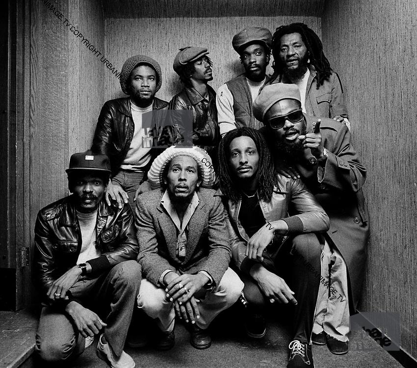 Bob Marley and the Wailers group shot taken at the Kensington Hilton London 1980