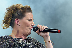 Image ©Licensed to i-Images Picture Agency. 05/07/2014. Oxford, United Kingdom. Cornbury Festival. X Factor winner (2014) Sam Bailey performs at the Cornbury Festival. Picture by  Rosalind Butt/i-Images