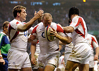 Photo: Richard Lane.<br />England v Wales. RBS Six Nations. 04/02/2006.<br />England's Mike Tindall celebrates his try.