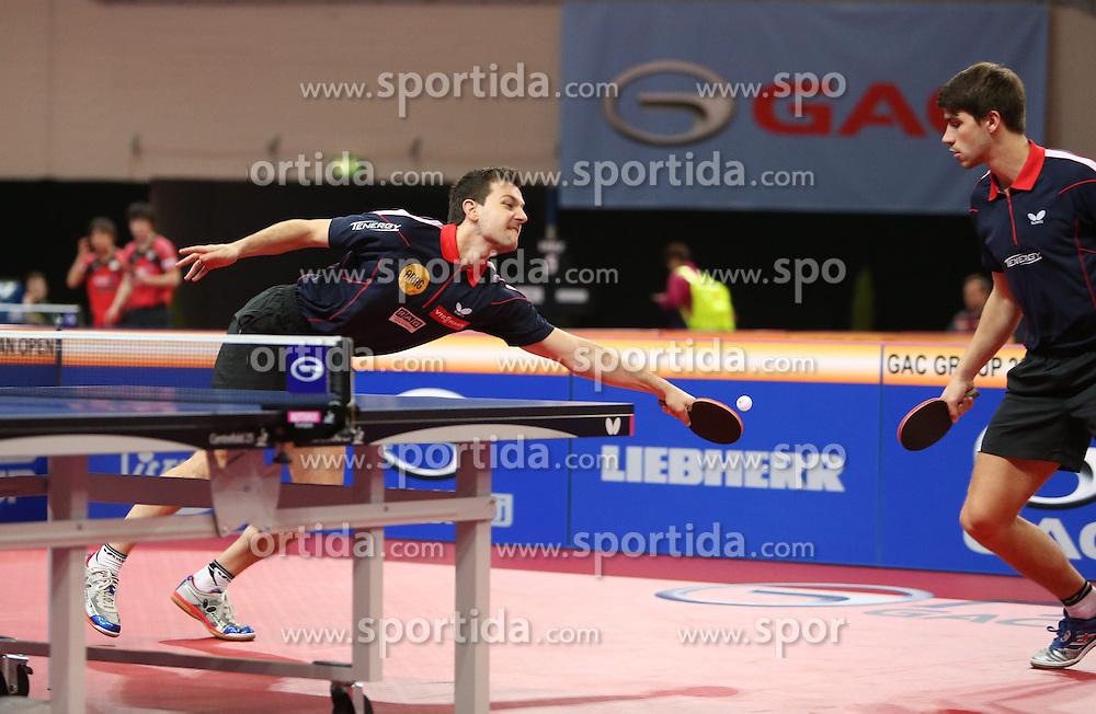 20.03.2015, OEVB Arena, Bremen, GER, Tischtennis German Open 2015, im Bild Timo Boll links und Patrick Franziska (beide GER) im Doppel der Herren // during the Ping pong German Open 2015 at the OEVB Arena in Bremen, Germany on 2015/03/20. EXPA Pictures &copy; 2015, PhotoCredit: EXPA/ Eibner-Pressefoto/ Wuest<br /> <br /> *****ATTENTION - OUT of GER*****