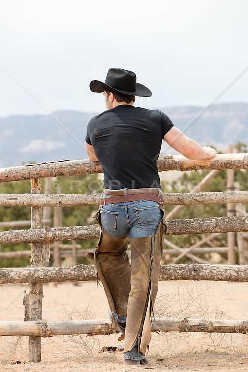 back of a cowboy in chaps on a ranch