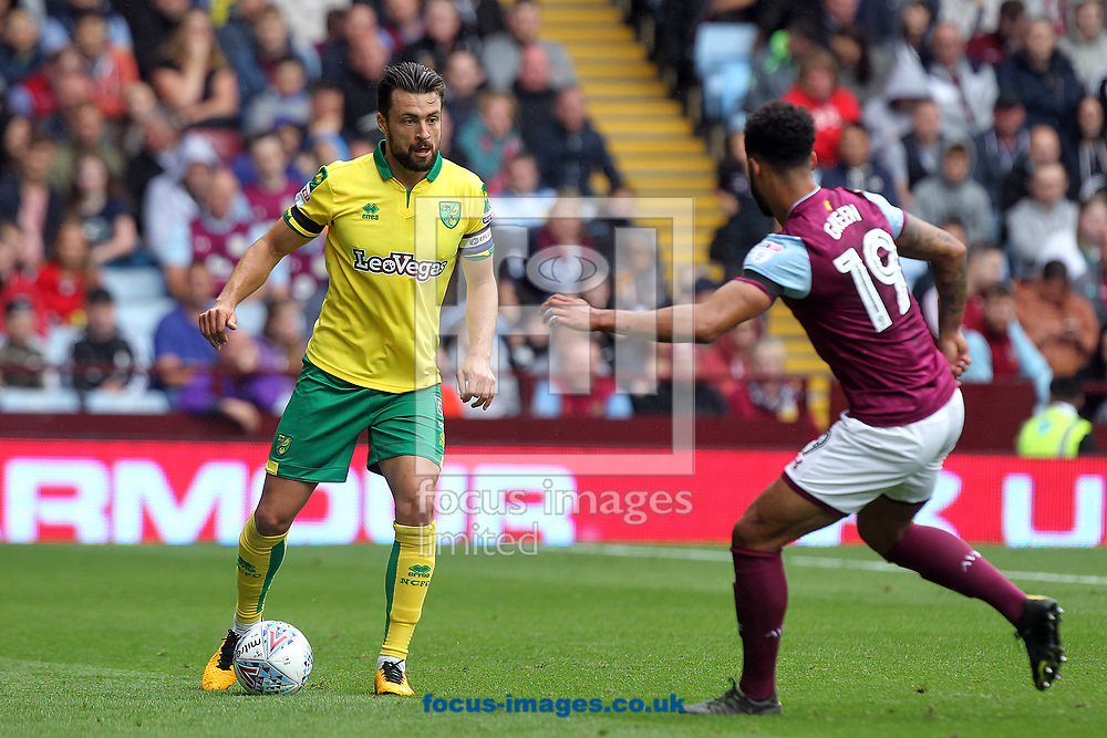 Russell Martin of Norwich and Andre Green of Aston Villa during the Sky Bet Championship match at Villa Park, Birmingham<br /> Picture by Paul Chesterton/Focus Images Ltd +44 7904 640267<br /> 19/08/2017