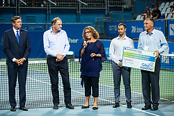 Borut Pahor, president of Slovenia, Marko Umberger, president of Tenis Slovenija, Anita Ogulin of Zveza prijateljev mladine,  Aljaz Kos, tournament director and Gasper Bolhar during the Trophy ceremony after the Final Singles match at Day 9 of ATP Challenger Zavarovalnica Sava Slovenia Open 2018, on August 11, 2018 in Sports centre, Portoroz/Portorose, Slovenia. Photo by Vid Ponikvar / Sportida