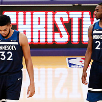 25 December 2017: Minnesota Timberwolves center Karl-Anthony Towns (32) is seen next to Minnesota Timberwolves forward Andrew Wiggins (22) during the Minnesota Timberwolves 121-104 victory over the LA Lakers, at the Staples Center, Los Angeles, California, USA.