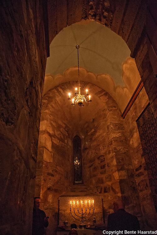 Tårnfoten, Selbu kirke. Inside the tower, Selbu church.