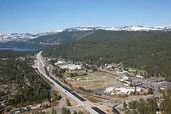 """Truckee Aerial 1"" - Photograph of Truckee California, shot from an amphibious seaplane with the door removed. Donner Lake can be seen in the distance."