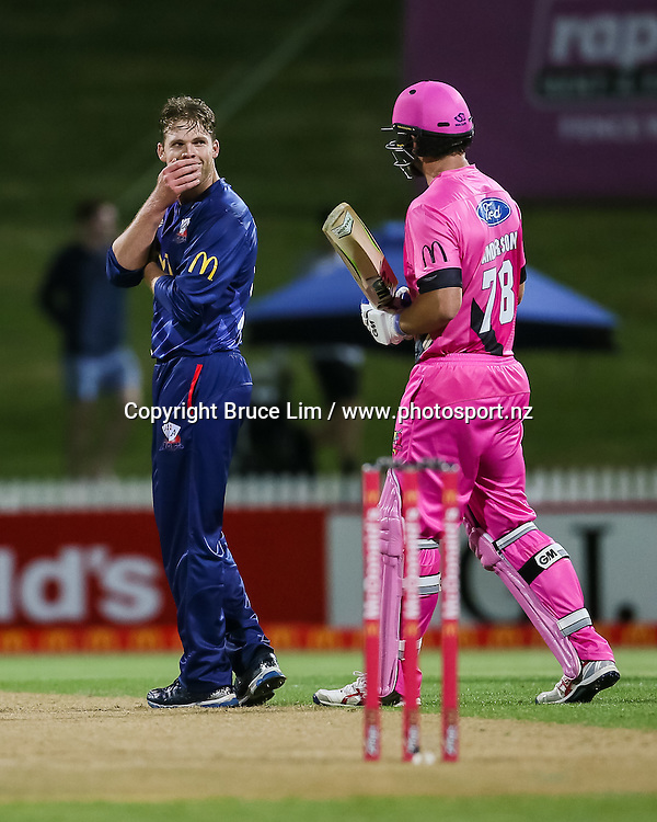 Auckland Aces' Lockie Ferguson reacts to getting hit for six by Knights' Corey Anderson during the McDonalds Super Smash T20 cricket match - Knights v Aces played at Seddon Park, Hamilton, New Zealand on Saturday 17 December.<br /> <br /> Copyright photo: Bruce Lim / www.photosport.nz