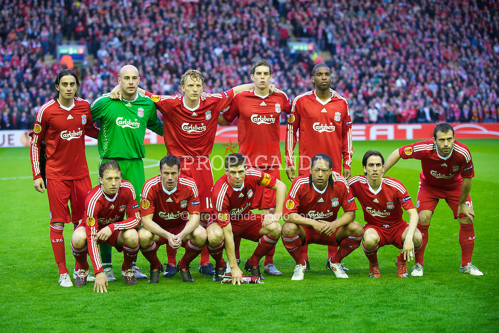 LIVERPOOL, ENGLAND - Thursday, April 29, 2010: Liverpool players line-up for a team-group photograph before the UEFA Europa League Semi-Final 2nd Leg match against Club Atletico de Madrid at Anfield. Back row L-R: Alberto Aquilani, goalkeeper Pepe Reina, Dirk Kuyt, Daniel Agger, Ryan Babel. Front row L-R: Lucas Leiva, Jamie Carragher, captain Steven Gerrard MBE, Glen Johnson, Yossi Benayoun, Javier Mascherano. (Photo by: David Rawcliffe/Propaganda)