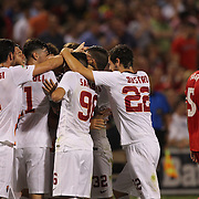 AS Roma celebrate a last minute winning goal from Marco Borriello during the Liverpool Vs AS Roma friendly pre season football match at Fenway Park, Boston. USA. 23rd July 2014. Photo Tim Clayton