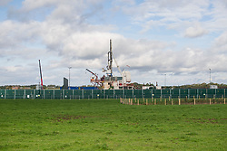 © Licensed to London News Pictures. 09/10/2017. Lancashire, UK. The drilling rig at Cuadrillas Hydraulic fracking site on Preston New Road, Lancashire.  Photo credit: Steven Speed/LNP