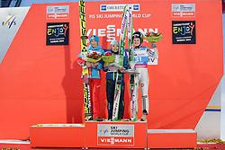 30.01.2016, Normal Hill Indiviual, Oberstdorf, GER, FIS Weltcup Ski Sprung Damen, Siegerehrung, im Bild v. l.: Daniela Iraschko Stolz (AUT, 2. Platz), Siegerin Sara Takanashi (JPN) und, Ema Klinec (SLO, 3. Platz) // 2nd placed Daniela Iraschko Stolz of Austria, Winner Sara Takanashi of Japan and Ema Klinec of Slovenia celebrates during Award ceremony of FIS Ski Jumping World Cup Ladis at the Schattenbergschanze, Oberstdorf, Germany on 2016/01/30. EXPA Pictures © 2016, PhotoCredit: EXPA/ Peter Rinderer