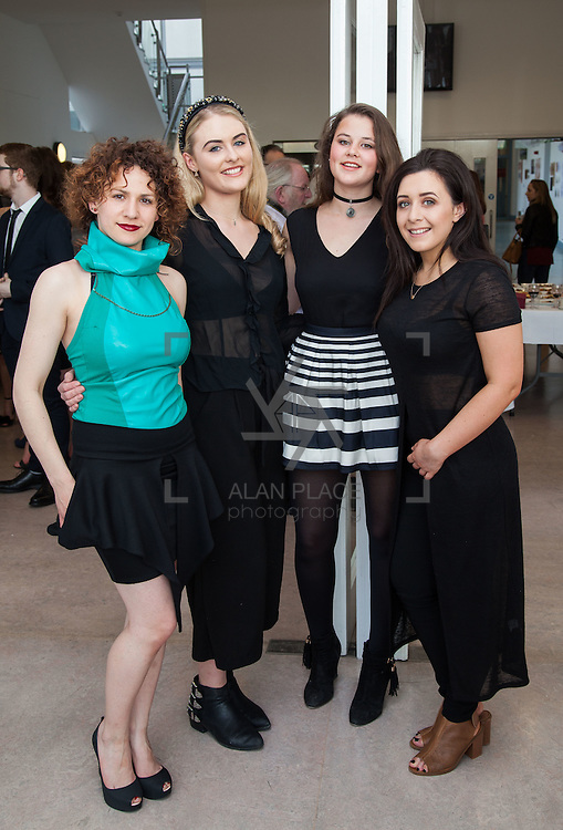13.05.2016.           <br /> Anna Bialek, Limerick, Danielle Martin, Bray Co. Wicklow, Meghan Hatherell, Kildare and Siobhan O'Dea, Tullamore CO. Offaly pictured at the much anticipated Limerick School of Art & Design, LIT, (LSAD) Graduate Fashion Show on Thursday 12th May 2016. The show took place at the LSAD Gallery where 27 graduates from the largest fashion degree programme in Ireland showcased their creations. Ranked among the world's top 50 fashion colleges, Limerick School of Art and Design is continuing to mold future Irish designers.. Picture: Alan Place/Fusionshooters