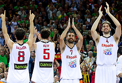 Jose Calderon of Spain, Rudy Fernandez of Spain, Juan Carlos Navarro of Spain and Pau Gasol of Spain celebrate at medal ceremony after the final basketball game between National basketball teams of Spain and France at FIBA Europe Eurobasket Lithuania 2011, on September 18, 2011, in Arena Zalgirio, Kaunas, Lithuania. Spain defeated France 98-85 and became European Champion 2011, France placed second and Russia third. (Photo by Vid Ponikvar / Sportida)