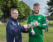 Dundee Saturday Morning Football League president Steve McSwiggan presents Hilltown Hotspurs' captain Liam Peters with the Dundee Saturday Morning Football League Premier Division trophy at University Grounds, Riverside, Dundee, Photo by David Young<br /> <br /> <br />  - © David Young - www.davidyoungphoto.co.uk - email: davidyoungphoto@gmail.com
