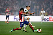 Midfielder Angel Correa of Atletico de Madrid and Midfielder Lucas Ocampos of Olympique de Marseille during the UEFA Europa League, Final football match between Olympique de Marseille and Atletico de Madrid on May 16, 2018 at Groupama Stadium in Decines-Charpieu near Lyon, France - Photo Jean-Marie Hervio / ProSportsImages / DPPI