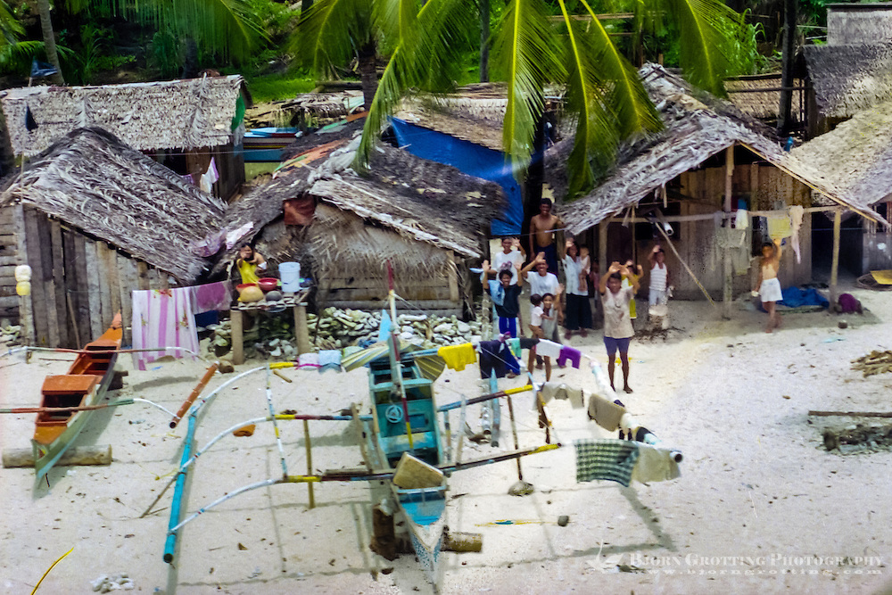 North Sulawesi, Sangihe. Village on a small island north of Manado. Greeted by the locals  (from helicopter).