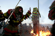 """The"""" Caretos dance"""" ends up the festivities of Podence Carnival. A recent introduction to the tradition, this dance is made around a burning """"Careto"""" puppet."""