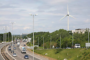 Ecotricity wind turbine next to the M4 motorway at their head office at Green Park, in Reading. Ecotricity is the worlds first green electricity company.