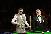 19.02.2016. Cardiff Arena, Cardiff, Wales. Bet Victor Welsh Open Snooker. Mark Selby versus Ronnie O'Sullivan. Mark Selby looks for his options.