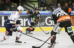 06.12.2015, Eisstadion Liebenau, Graz, AUT, EBEL, Moser Medical Graz 99ers vs EC VSV, 28. Runde, im Bild Stefan Bacher (EC VSV), Jonas Almtorp (Moser Medical Graz 99ers) und Morten H. Poulsen (Moser Medical Graz 99ers) // during the Erste Bank Icehockey League 28th Round match between Moser Medical Graz 99ers and EC VSV at the Ice Stadium Liebenau, Graz, Austria on 2015/12/06, EXPA Pictures © 2015, PhotoCredit: EXPA/ Erwin Scheriau