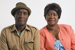 Portrait of an older couple sitting together,