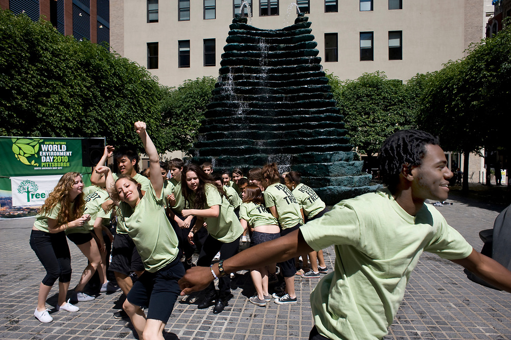 Point Park University dance students surprise the crowd with another flash mob performance in honor of World Environment Day at the Root for Trees Rally at Katz Plaza in Pittsburgh.
