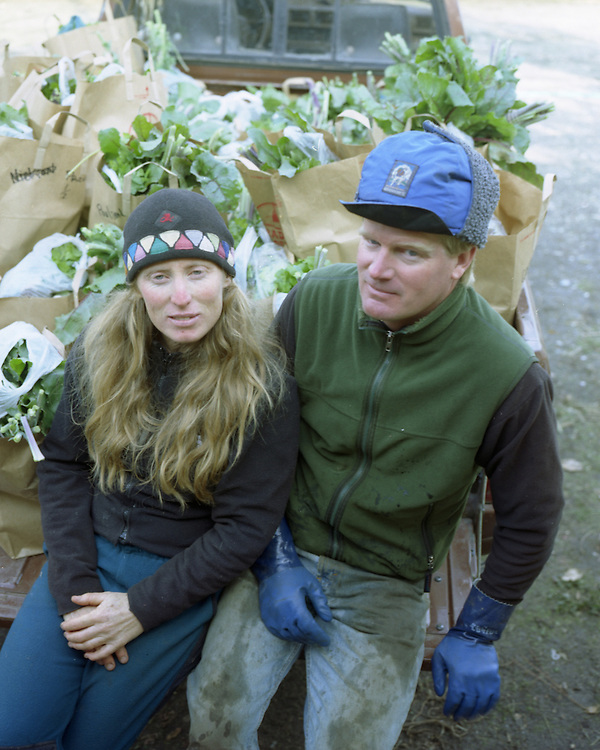 Organic farmers Christine and Eric Taylor at their garden near Murphys