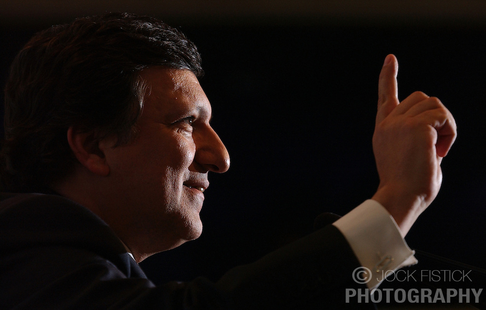 Jose Manuel Barroso , President of the European Commission, speaks during a press conference at the European Commission headquarters in Brussels, Belgium, on Monday, March 21, 2005. (Photo © Jock Fistick)