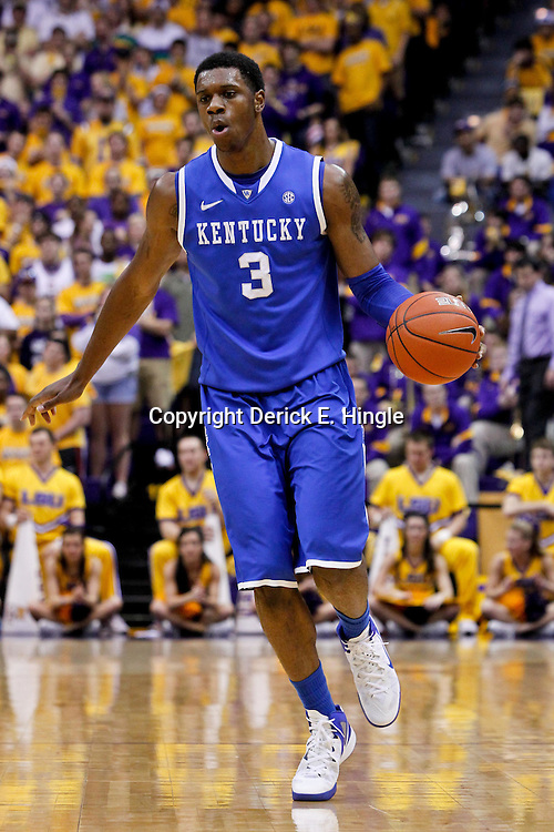 January 28, 2012; Baton Rouge, LA; Kentucky Wildcats forward Terrence Jones (3) against the LSU Tigers during the first half of a game at the Pete Maravich Assembly Center.  Mandatory Credit: Derick E. Hingle-US PRESSWIRE