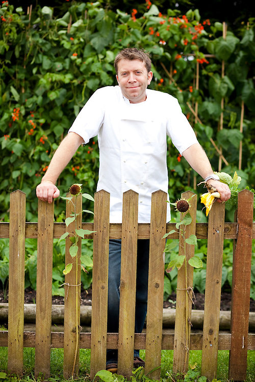 Chef Sean Hope in his pub carpark vegetable garden at the Red Lion Inn. Leicestershire