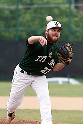 28 April 2012:   Pitcher John Frueh during an NCAA division 3 Baseball game between the Augustana Vikings and the Illinois Wesleyan Titans in Jack Horenberger Stadium, Bloomington IL