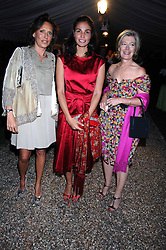 Left to right, SARA CARELLO, INES SASTRE and MRS FORBES SINGER at the annual Cartier Chelsea Flower Show dinner held at the Chelsea Physic Garden, London on 21st May 2007.<br />