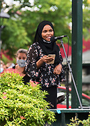 Bar Harbor, Maine. July 19, 2020. Safiya Khalid speaks at the MDI Racial Justice Coalition rally.
